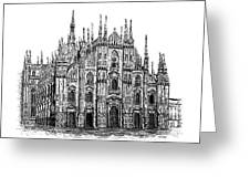 Black And White With Pen And Ink Drawing Of Milan Cathedral  Greeting Card by Mario Perez