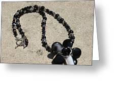 Black Banded Onyx Wire Wrapped Flower Pendant Necklace 3634 Greeting Card by Teresa Mucha