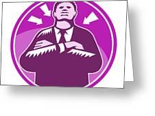 Black Businessman Bouncer Arms Folded Woodcut Greeting Card by Aloysius Patrimonio