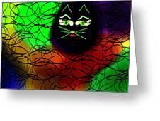 Black Cat Dreams Greeting Card by Rosana Ortiz
