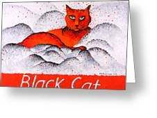 Black Cat Orange Greeting Card by Michelle Boudreaux