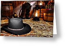 Black Cowboy Hat in an Old Barn Greeting Card by Olivier Le Queinec