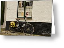 Black Cycle Rests On Window Sill Greeting Card by Imran Ahmed