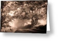 Black Dog On A Misty Road. Misty Roads Of Scotland Greeting Card by Jenny Rainbow