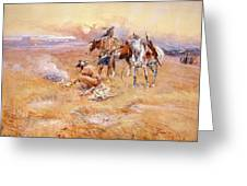 Black Feet Burning The Buffalo Range Greeting Card by Charles Russell