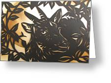 Black Goat Cut Out Greeting Card by Alfred Ng