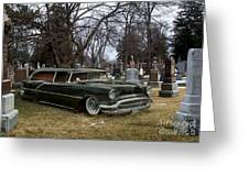Black Hearse Greeting Card by Tom Straub