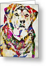 Black Lab Watercolor Art Greeting Card by Christina Rollo