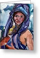 Black Lady No.13 Greeting Card by Janet Ashworth