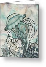 Black Lung Green Jellyfish Greeting Card by Tamara Phillips
