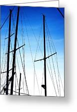 Black N Blue Hour Of Sailing Ships Greeting Card by Rosemarie E Seppala