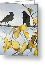 Black Ravens In Birch Greeting Card by Carolyn Doe