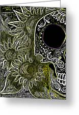 Black Sunflower Skull Greeting Card by Lovejoy Creations