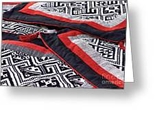 Black Thai Fabric 04 Greeting Card by Rick Piper Photography