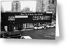 black top and checker cabs office Vancouver BC Canada Greeting Card by Joe Fox