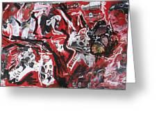 Blackhawks Mural Greeting Card by John Sabey Jr