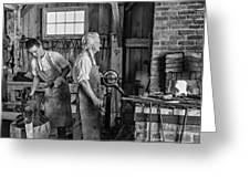 Blacksmith and Apprentice 2 bw Greeting Card by Steve Harrington