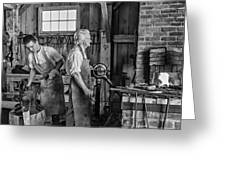 Blacksmith And Apprentice 2 Bw Greeting Card by Steve Harrington