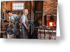 Blacksmith And Apprentice 2 Greeting Card by Steve Harrington