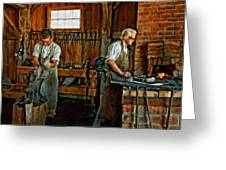 Blacksmith And Apprentice Impasto Greeting Card by Steve Harrington