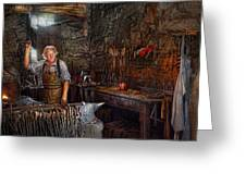 Blacksmith - Working The Forge  Greeting Card by Mike Savad