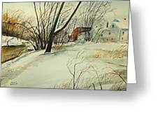 Blackstone River Snow  Greeting Card by Scott Nelson