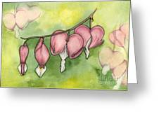 Bleeding Hearts Greeting Card by Nora Blansett