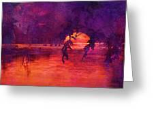 Bleeding Sunrise Abstract Greeting Card by J Larry Walker