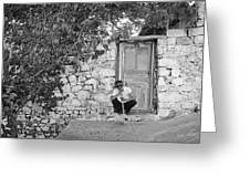 Blind Man And His House Greeting Card by Ilker Goksen