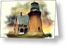 Block Island Light Greeting Card by Lourry Legarde