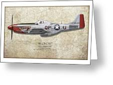 Blondie P-51D Mustang - Map Background Greeting Card by Craig Tinder