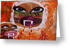 Bloody Meat Greeting Card by Lisa Piper Menkin Stegeman