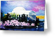 Blossoms At The Jefferson Memorial Greeting Card by Al Brown