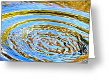 Blue And Gold Spiral Abstract Greeting Card by Christina Rollo