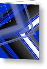 Blue And White Geometric Art Greeting Card by Mario  Perez