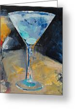 Blue Art Martini Greeting Card by Michael Creese