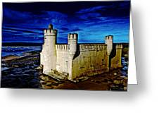 Blue Bathhouse Greeting Card by Tony Reddington