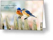 Blue Bird Love Notes Greeting Card by Scott Pellegrin