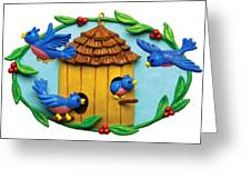 Blue Birds Fly Home Greeting Card by Amy Vangsgard