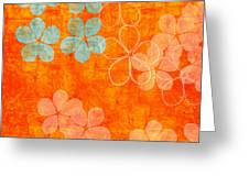 Blue Blossom on Orange Greeting Card by Linda Woods