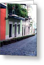 Blue Brick Street Old San Juan Greeting Card by Thomas R Fletcher