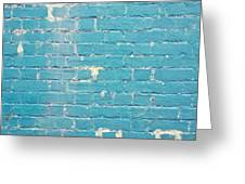 Blue Brick Wall Greeting Card by Tom Gowanlock