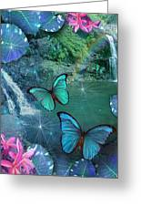 Blue Butterfly Dream Greeting Card by Alixandra Mullins