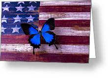 Blue Butterfly On American Flag Greeting Card by Garry Gay