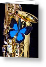 Blue Butterfly On Sax Greeting Card by Garry Gay
