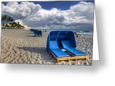 Blue Cabana Greeting Card by Debra and Dave Vanderlaan