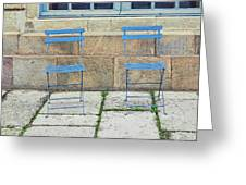 Blue Chairs 1 Stockholm Sweden Greeting Card by Marianne Campolongo