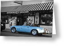 Blue Classic Car In Jamestown Greeting Card by RicardMN Photography