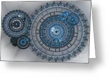 Blue clockwork machine Greeting Card by Martin Capek