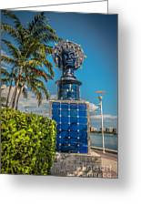 Blue Crown Statue Miami Downtown Greeting Card by Ian Monk
